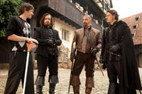 Director Paul W. S. Anderson, Matthew Macfadyen, Ray Stevenson and Luke Evans on the set of