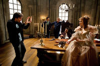 Director Paul W. S. Anderson, Orlando Bloom and Milla Jovovich on the set of