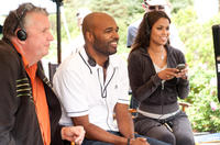 Producer Michael Mahoney, director Salim Akil and producer Tracey Edmonds on the set of