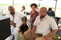 Director Salim Akil, writer/producer Elizabeth Hunter and producer Glendon Palmer on the set of in