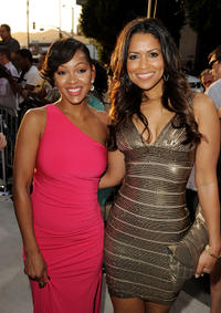 Meagan Good and producer Tracey Edmonds at the California premiere of