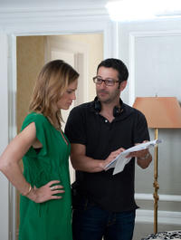 Producer Hilary Swank and director Luke Greenfield on the set of