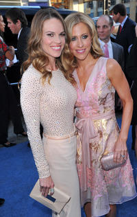 Hilary Swank and writer Emily Giffin at the premiere of