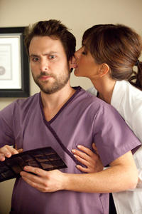 Charlie Day as Dale and Jennifer Aniston as Dr. Julia Harris in