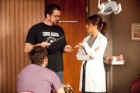 Director Seth Gordon and Jennifer Aniston on set of