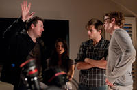 Director Todd Lincoln, Ashley Greene, Sebastian Stan and Tom Felton on the set of