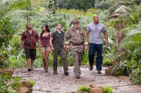 Luis Guzman as Gabato, Vanessa Hudgens as Kailani, Josh Hutcherson as Sean, Michael Caine as Alexander and Dwayne Johnson as Hank in