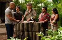 Dwayne Johnson as Hank, Josh Hutcherson as Sean, Michael Caine as Alexander, Luis Guzman as Gabato and Vanessa Hudgens as Kailani in