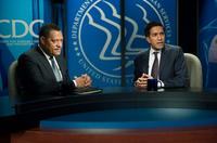 Laurence Fishburne and Sanjay Gupta in