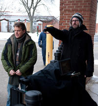 Matt Damon and Director Steven Soderbergh on the set of