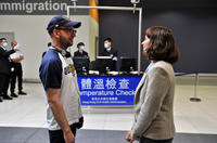 Director Steven Soderbergh and Marion Cotillard on the set of