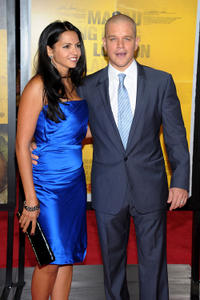Luciana Bozan Barroso and Matt Damon at the New York premiere of