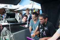Thomas Mann, Oliver Cooper, producer Todd Phillips and director Nima Nourizadeh on the set of