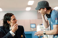 Russell Brand and Director Jason Winer on the set of