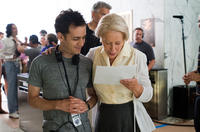 Director Jason Winer and Helen Mirren on the set of