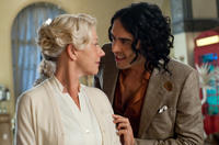 Helen Mirren as Hobson and Russell Brand as Arthur in