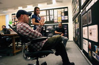 Director Dan Scanlon, Cassandra Smolcic and production designer Ricky Nierva on the set of