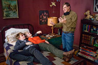Henry Hopper, Mia Wasikowska and director Gus Van Sant on the set of