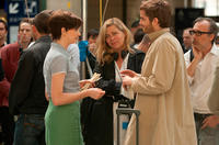 Anne Hathaway, director Lone Scherfig and Jim Sturgess as Dexter Mayhew on the set of