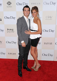 Musician Kevin Jonas and Danielle Deleasa at the New York premiere of