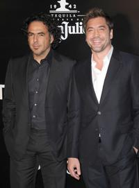 Director Alejandro Gonzalez Inarritu and Javier Bardem at the California premiere of