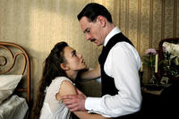 Keira Knightley as Sabina Spielrein and Michael Fassbender as Carl Jung in
