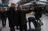 Director Steven Soderbergh and producer Gregory Jacobs on the set of
