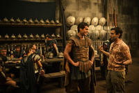 Henry Cavill and director Tarsem Singh on the set of