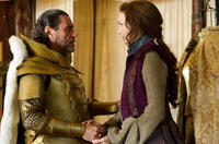 Ian McShane as King Brahmwell and Eleanor Tomlinson as Isabelle in