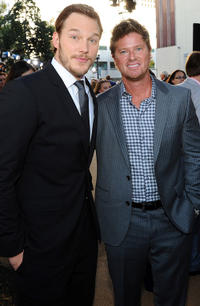 Chris Pratt and former A's Player Scott Hatteberg at the California premiere of