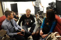 Jake Gyllenhaal, director Duncan Jones and Michelle Monaghan on the set of