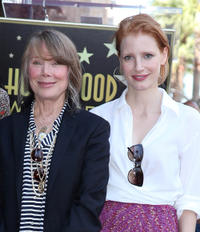 Sissy Spacek and Jessica Chastain at the Hollywood Walk of Fame Ceremony honoring with a star to Sissy Spacek in California.