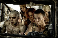 Nicholas Hoult as Nux, Courtney Eaton as Fragile, Riley Keough as Capable, Charlize Theron as Furiosa and Abbey Lee Kershaw as Wag in