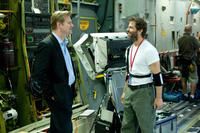 Producer Christopher Nolan and director Zack Snyder on the set of