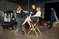 Director Zack Snyder, producers Charles Roven and Deborah Snyder on the set of
