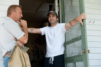 Kevin Costner and director Zack Snyder on the set of