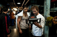 Henry Cavill and director Zack Snyder on the set of