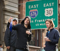 Director Marc Forster and Brad Pitt on the set of