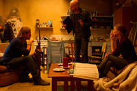Brad Pitt, director Marc Forster and Mireille Enos on the set of