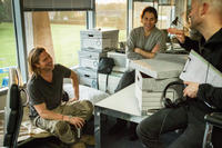 Brad Pitt, producer Jeremy Kleiner and director Marc Forster on the set of