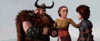 Stoick voiced by Gerard Butler, Valka voiced by Cate Blanchett and Hiccup voiced by Jay Baruchel in