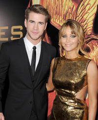 Liam Hemsworth and Jennifer Lawrence at the California premiere of