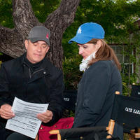 Tom Hanks and Nia Vardalos on the set of