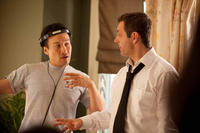 Director Shawn Ku and Michael Sheen on the set of