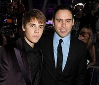 Justin Bieber and Scooter Braun at the California premiere of