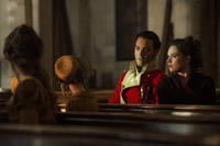 Jack Huston as George Wickham and Lily James as Elizabeth Bennet in