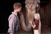 Robert Pattinson as Jacob, Rosie the elephant and Reese Witherspoon as Marlena in