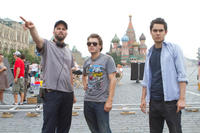 Director Chris Gorak, Emile Hirsch and Max Minghella on the set of