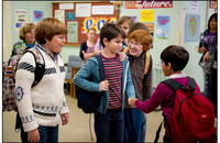 Robert Capron as Rowley, Grayson Russell as Fregley, Karan Brar as Chirag and Zachary Gordon as Greg Heffley in