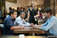 Jake Johnson as Eli, Chris Bridges as Wallace, Abby Elliott as Joy and Ashton Kutcher as Adam in